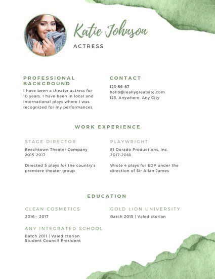 Green and White Theatre Resume Weddings Pinterest - sample theatre resume