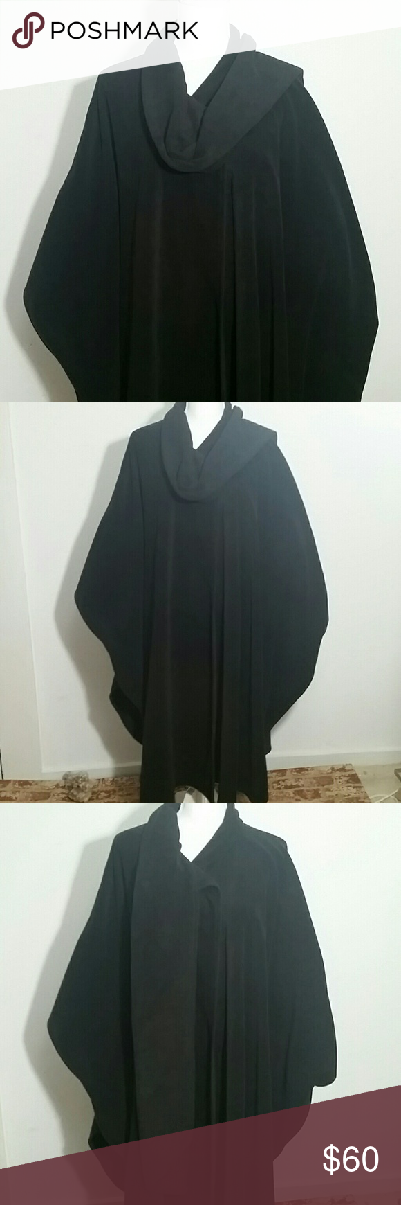 Large Black Cape With Attached Scarf Black Cape Jackets For Women Large Black