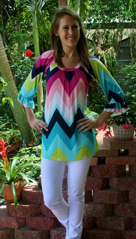 Pretty spring chevron striped tunic.