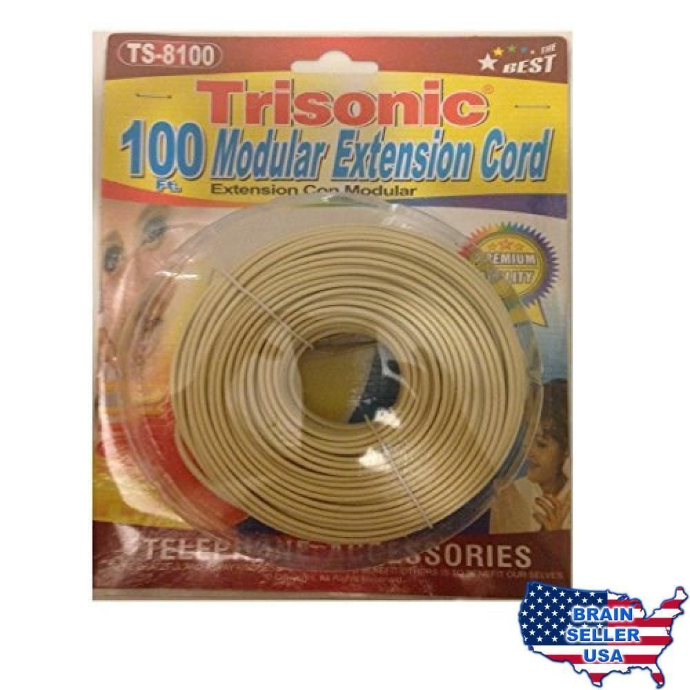 Trisonic Telephone Phone Extension Cord Cable Line Wire 100 Feet Wiring Ivory New Ebay Link