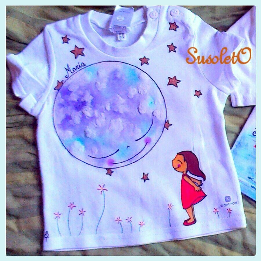 Luna estrellas ni a camisetas susoleto pintado a mano - Pintura para camisetas ...