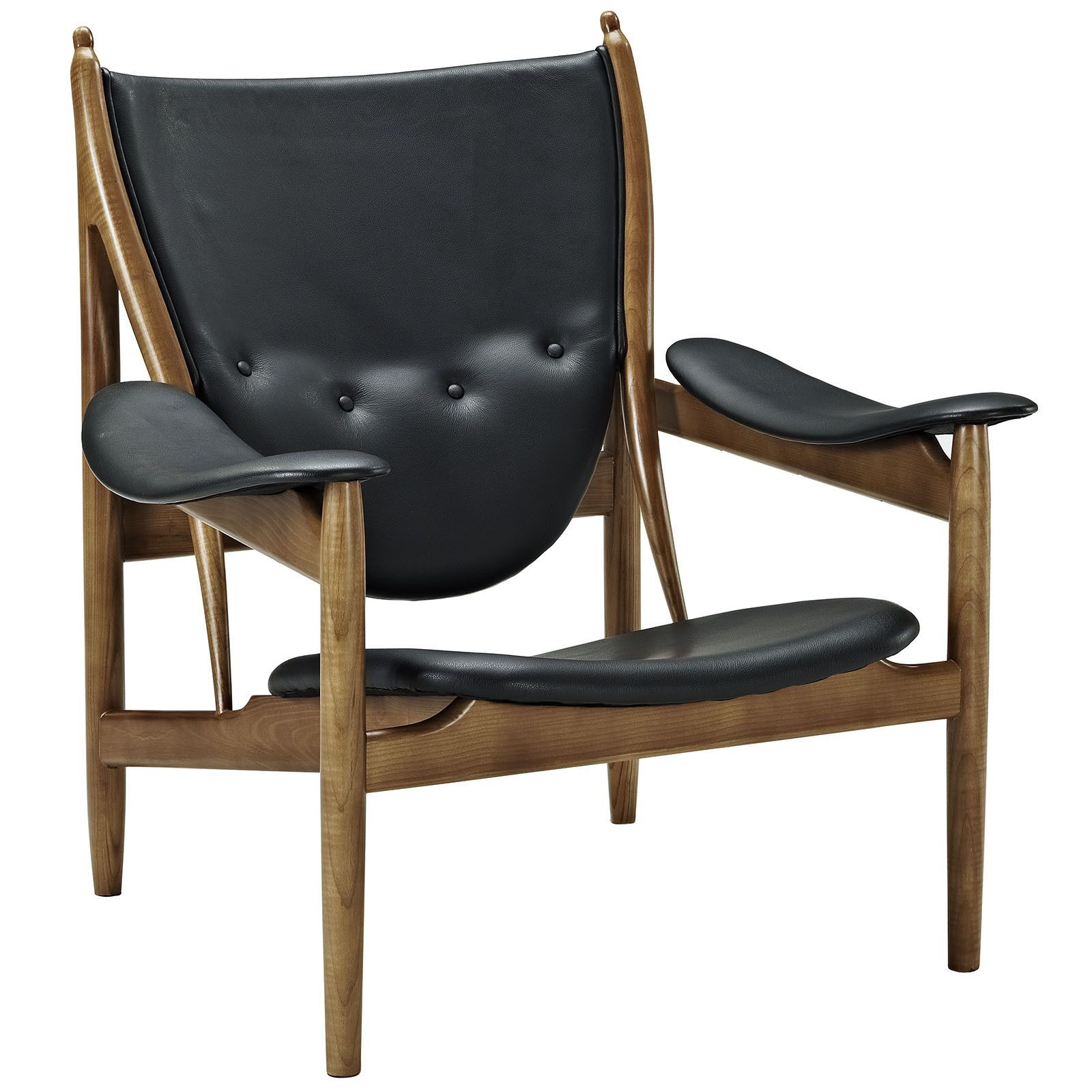 LexMod Finn Juhl Style Chieftains Chair Black Leather