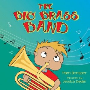 THE BIG BRASS BAND A parade! Watch from the sidelines, as a little fellow follows the magnificent marching band go by. He is overcome by the sounds, and every instrument is his favorite. How can he decide which instrument he will play? A delightful rhyming tale about a parade, a band, and a boy making journey while we learn the names of the instruments in a marching band. But be aware…your children may want an instrument after reading this book! Which instrument will they choose?