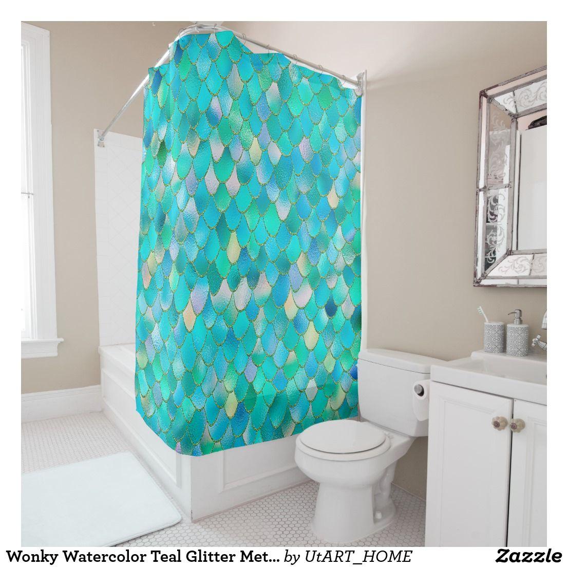 Wonky Watercolor Teal Glitter Metal Mermaid Scales Shower Curtain