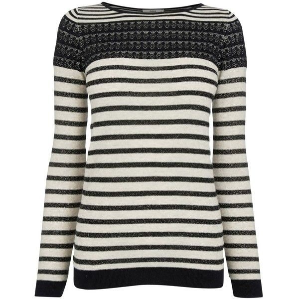 Oasis Stripe Sparkle Pointelle Top, Multi ($57) ❤ liked on Polyvore featuring tops, striped top, stripe top, breton stripe top, breton striped top and long sleeve tops