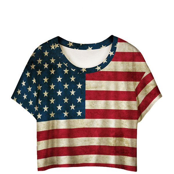 f6cf0047c6c8 Polychrome American Flag Print Batwing Sleeve T-shirt (64260 PYG) ❤ liked  on Polyvore featuring tops