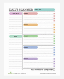 Free Printables For Preschool  Rd Grade Homework Planners