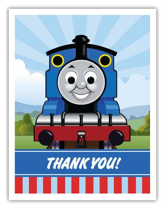 Thomas The Tank Engine Inspired Thank You Note Card By Ianandlola