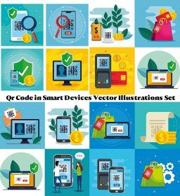 Qr Code in Smart Devices Vector Set | Free download