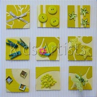 """children create a textures """"inchies"""" board. Each small square has a different texture. background and item colours the same?"""