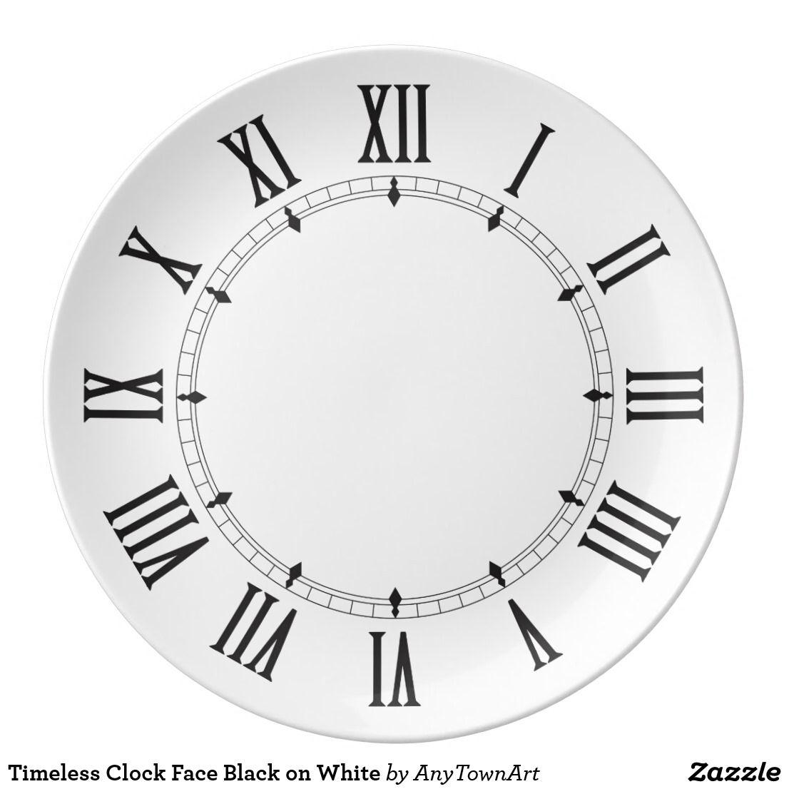 Timeless Clock Face Black on White Dinner Plate