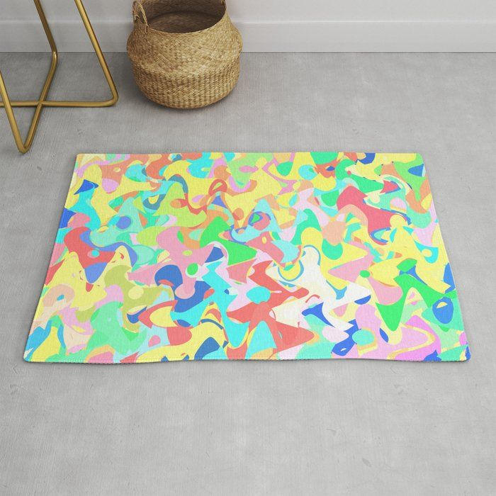 Chaotic vision, vibrant colors and shapes, funny mess Rug by kinkdesign