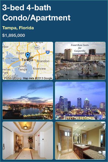 3-bed 4-bath Condo/Apartment in Tampa, Florida ►$1,895,000 #PropertyForSale #RealEstate #Florida http://florida-magic.com/properties/7658-condo-apartment-for-sale-in-tampa-florida-with-3-bedroom-4-bathroom