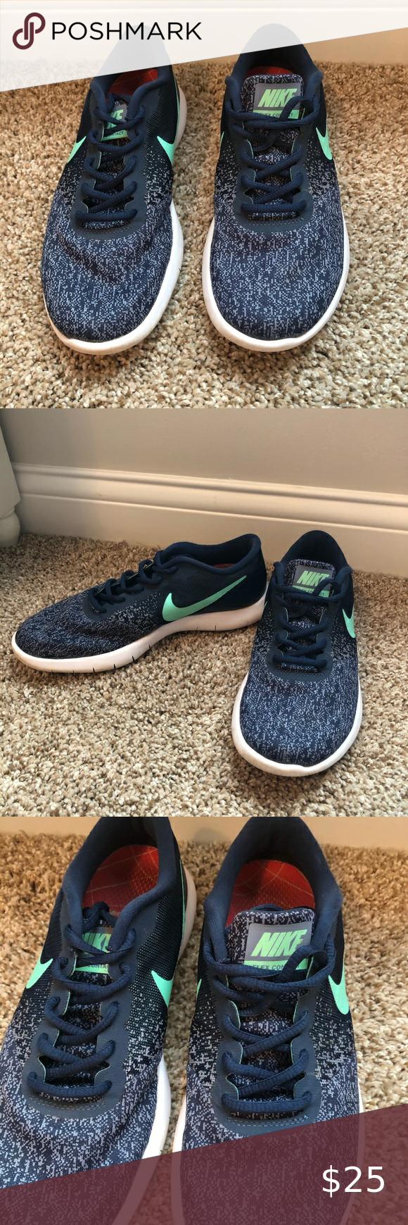 Conquistar antártico Afirmar  Nike Flex Contact Shoes 👢👠👟SHOE DROP👟👠👢 Item: Flex contact running  shoes in navy/green (come with Dr. Scholl's insoles) Size: women… in 2020 | Nike  flex, Shoes, Nike