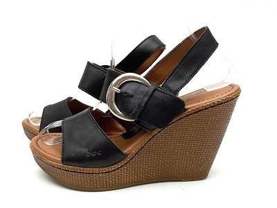 BORN BOC Women's 8M Brown Leather Strappy Platform Wedge Slingback Sandals Shoes
