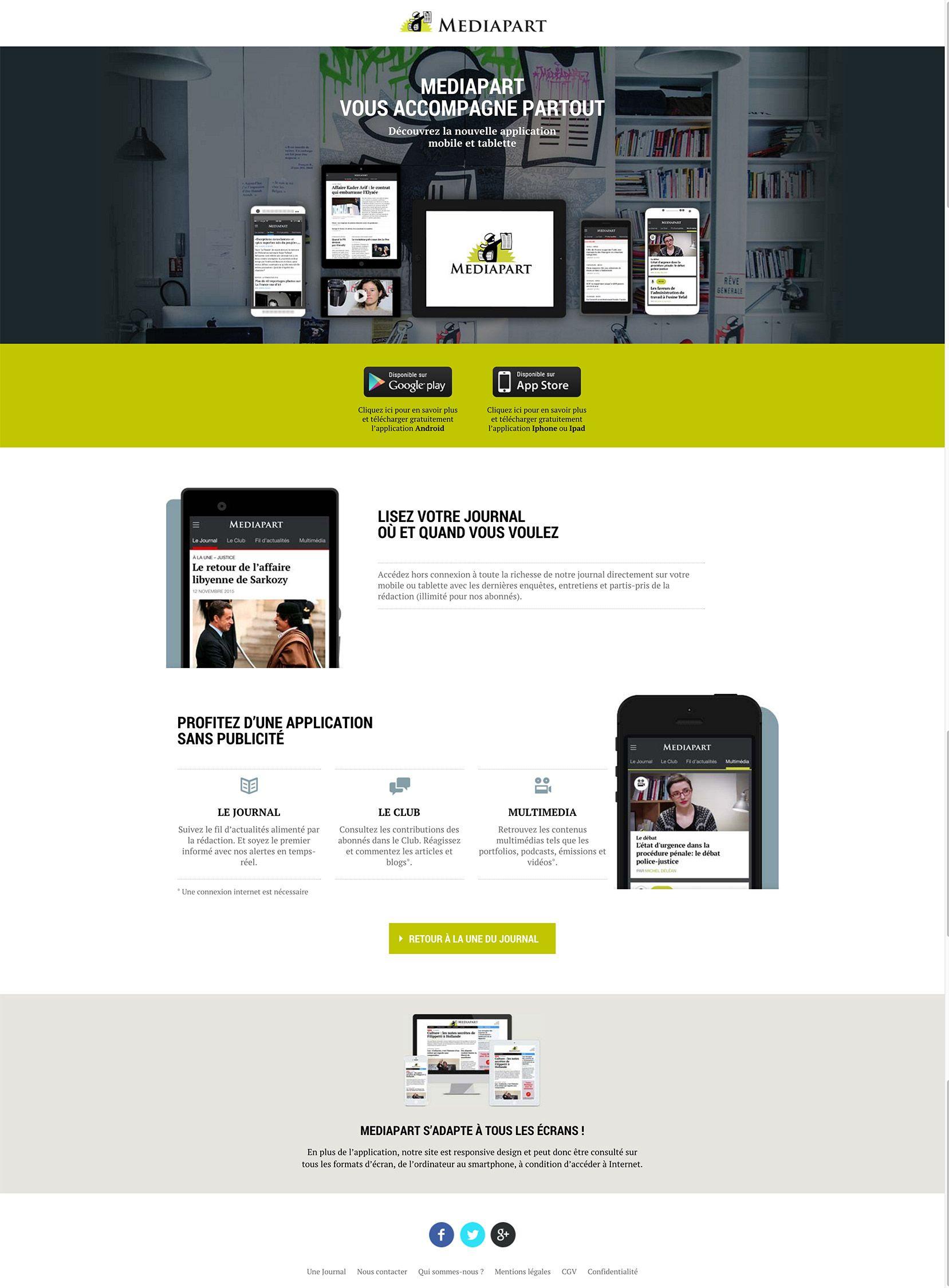 Application mobile et tablette Mediapart Application