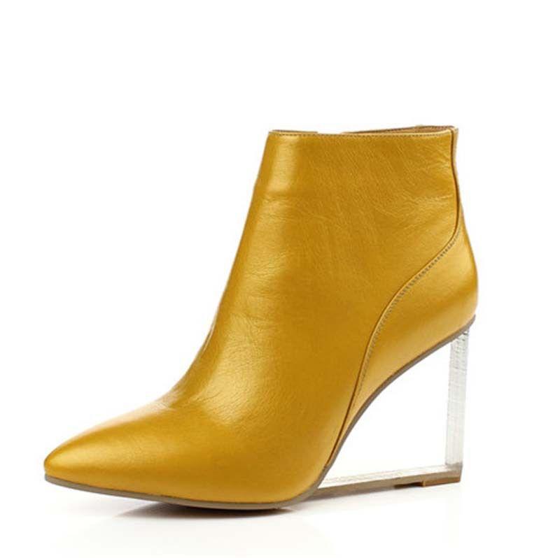 Economico Donne trasparente zeppe tacchi alti alla caviglia stivali design  punta a punta tacchi alti pring db1028ffac4