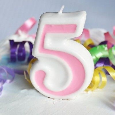 Pink 5 Number Candle White Premium Birthday