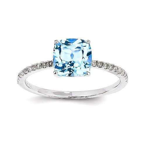 14k White Gold Diamond And Square Cushion Ice Blue Topaz Ring
