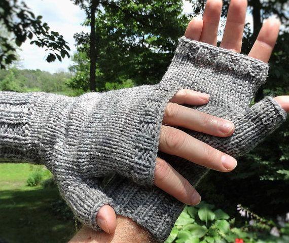 Fingerless Gloves Mens Hand Knit Light Gray Hand Painted Merino