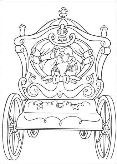 Cinderella S Wedding Cart Coloring Page Super Coloring