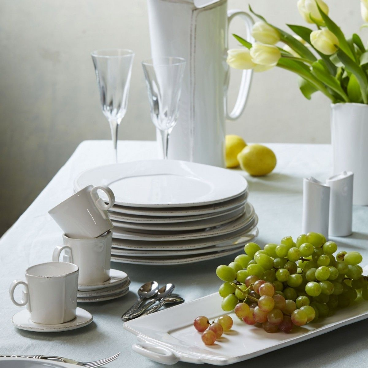 Lastra White European Dinner Plate | Dinnerware | Tabletop | VIETRI. More pieces.  #LGLimitlessDesign #Contest