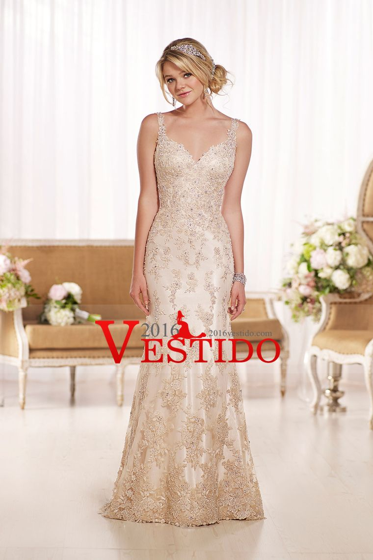 2016 correas de la sirena de la boda vestidos de tul Cuentas con y apliques espalda abierta