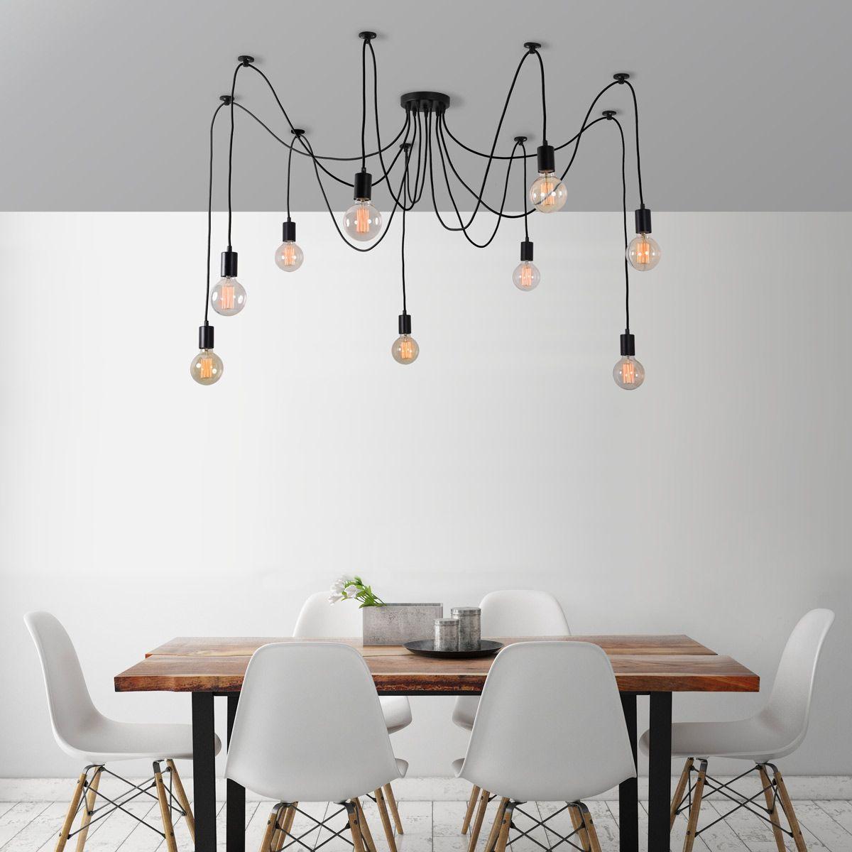 Suspension 9 Lumi¨res avec ampoules Noir c¢ble Noir ˜ modulable