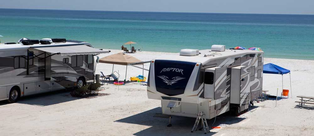 Camp Gulf Campground Beachfront Rv Sites Destin Fl Camping Beach Camping Camping Places