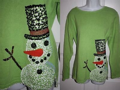 quacker factory lime green sequin snowman ugly christmas sweater l