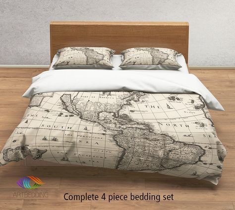 Vintage world map bedding 1626 antique map of north and south vintage world map bedding 1626 antique map of north and south america duvet cover set steampunk old map comforter set gumiabroncs Image collections