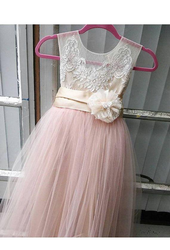 07200c39922 Blush Annabelle flower girl dress tea length by somsicouture