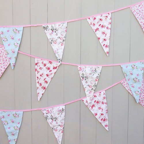 Vintage Floral Fabric Bunting Shabby Chic Party Weddings Girls Bedroom 12 Flags