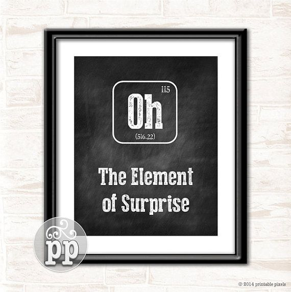 Periodic Table Oh The Element of Surprise by PrintablePixels - new periodic table sodium abbreviation