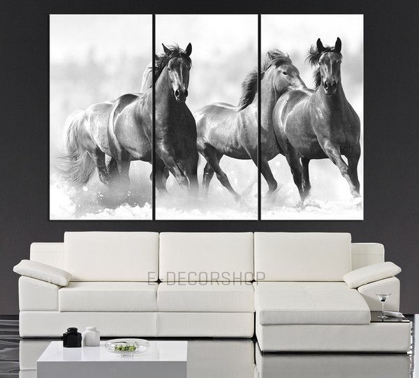 Large Wall Art Running Wild Horses Canvas Print - 3 Panel Large ...