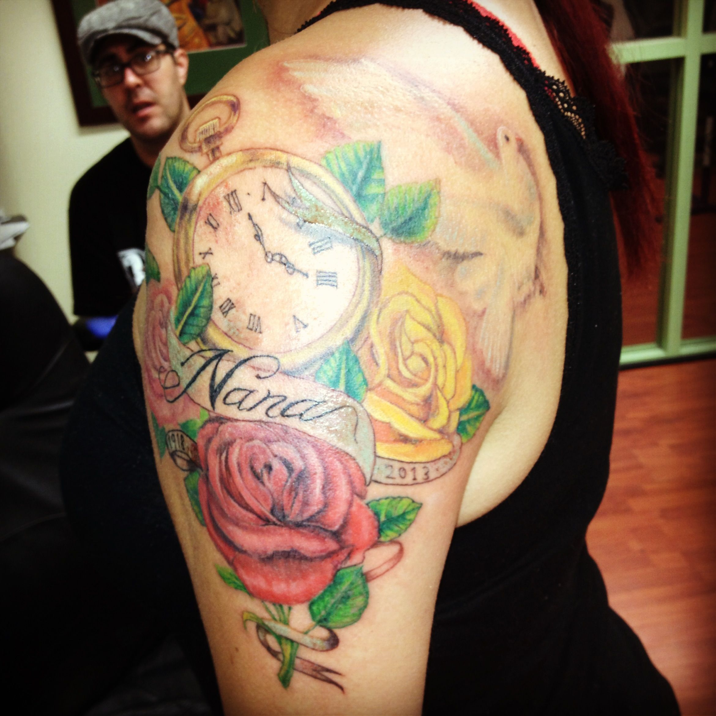 Memorial Tattoo Of 3 Roses Yellow Red And Pink With A Pocket Watch And White Dove For My Nana 1918 2013 Rose Tattoos Tattoos Memorial Tattoo