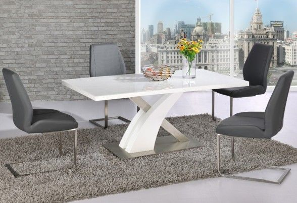 Zoro gloss white diningtable with white and chrome base is unique