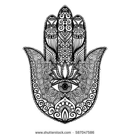 Ornamental Hand With Eye Vector Hand Drawn Indian Protective Symbol