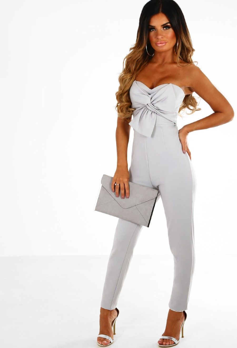 8b2f66f0627 Evening In Rome Grey Knot Front Strapless Jumpsuit
