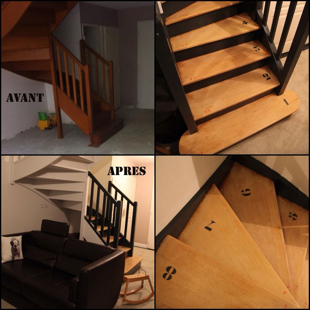 Avant apr s le relooking d co style industriel made in - Deco escalier bois ...