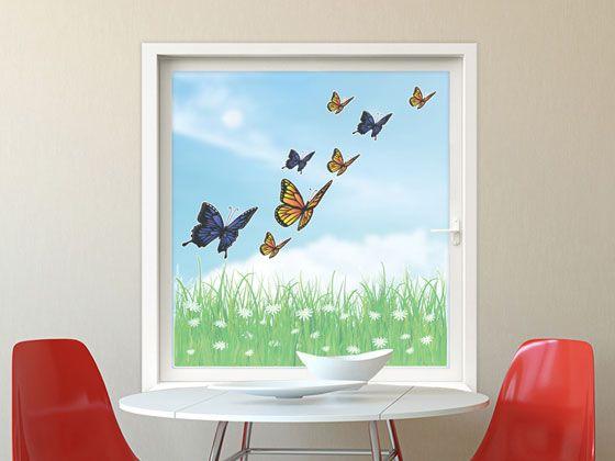 #Glastattoo Wohnzimmer #Schmetterlinge #Fensteraufkleber #Fenstertattoo #Fensterdekor