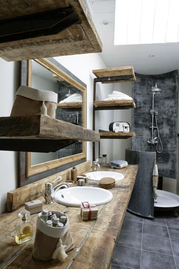La Tazzina Blu Thick Beams As Shelves Bagni In Stile Country