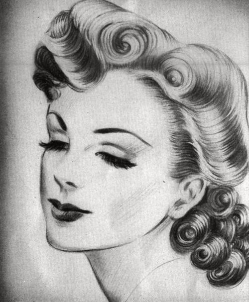 """Create A Rockabilly Poster With Vector Set 22: """"Victory Roll"""" Hairstyle, 1940s."""