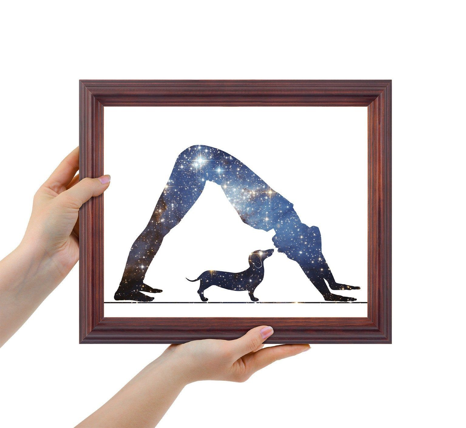 Woman In Yoga Pose Woman With Dachshund Dog Print Galaxy Yoga Gift Meditation Art Woman And Dog Personalized Gift Space Wall Decor Yoga Room Decor Meditation Art Yoga Art Painting