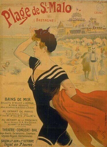 Plage De Saint Malo Bretagne French Travel Poster By Rene Pean C 1900 Http Www Pin Carteles Vintage Carteles De Viajes Anuncios Vintage