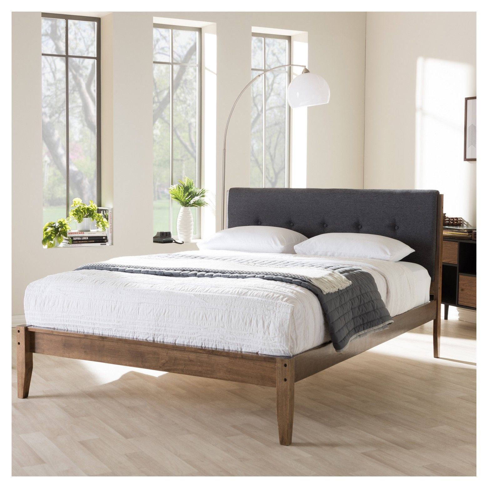 Leyton Mid Century Modern Fabric Upholstered Platform Bed King Gray Upholstered Platform Bed King Upholstered Platform Bed Upholstered Platform Bed Queen