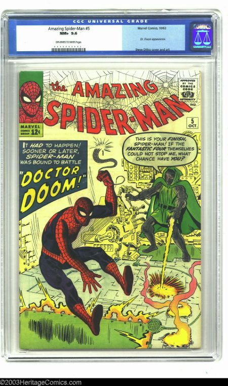 The Amazing Spider Man 5 Marvel 1963 Cgc Nm 9 6 Off White To White Pages Comics Silver Age Comics Amazing Spider