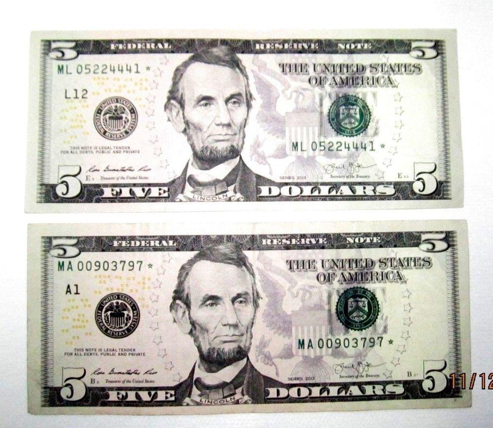 5 2013 Star U S Federal Reserve Note Mb04329413 One Dollar Bill
