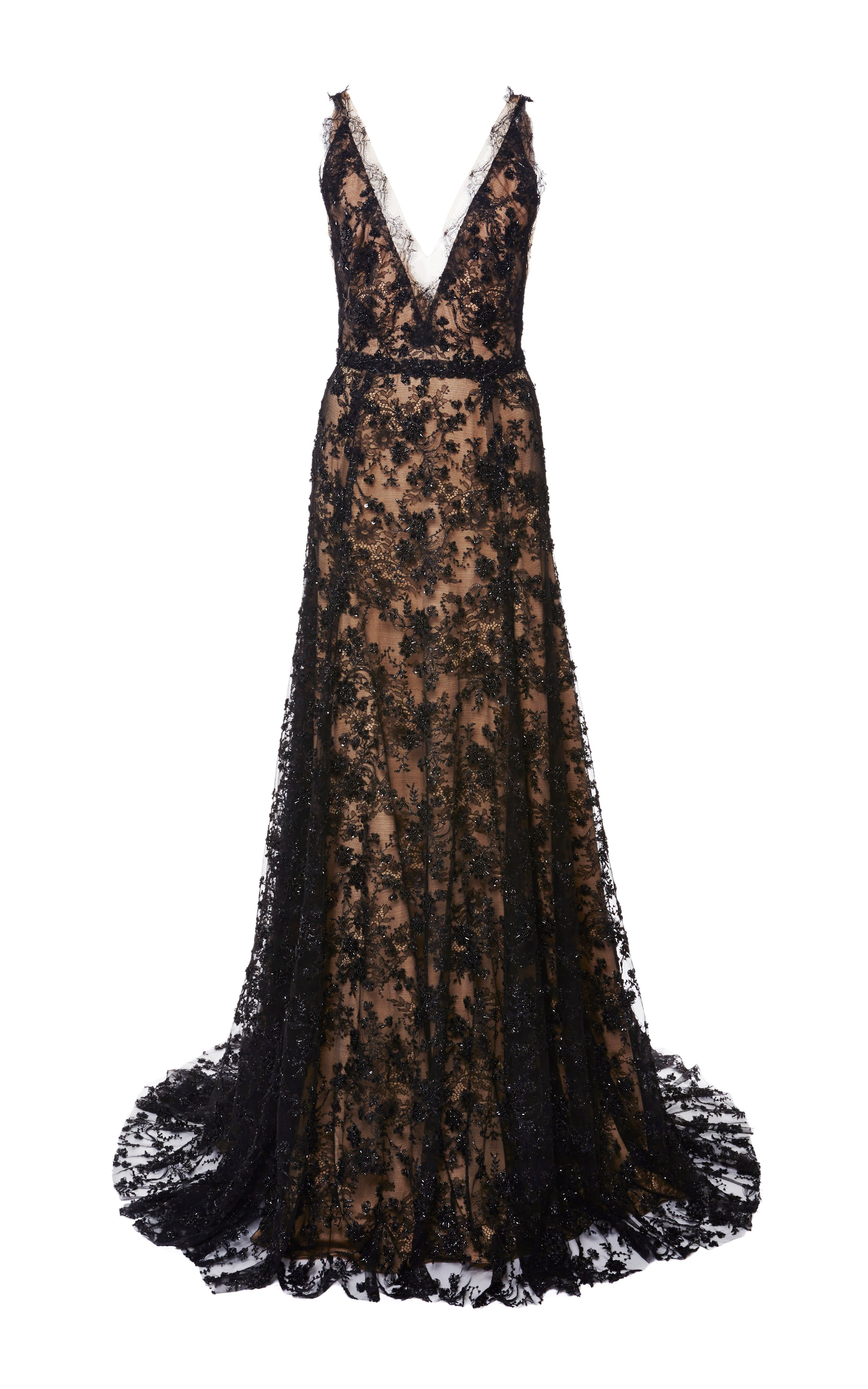Embroidered Chantilly Lace Gown by Marchesa for Preorder on Moda Operandi