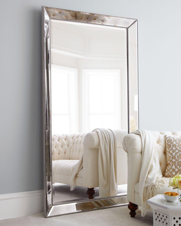 Antiqued Silver Beaded Floor Mirror Floor Mirror Living Room